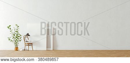 3d interior with home plant and blank frames