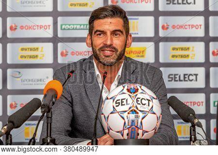Odessa, Ukraine - July 15, 2017: Press Conference Of The Head Coach Of Fc Shakhtar Donetsk Paulo Fon