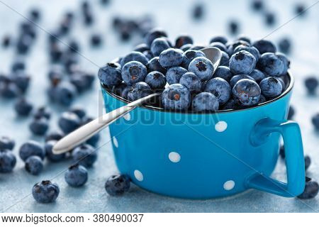 Fresh Blueberries In Cup With Copy Space