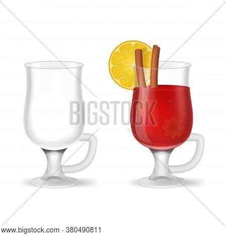 Realistic 3d Detailed Mulled Red Wine Set Empty And Full Isolated On A White Background Symbol Of Tr