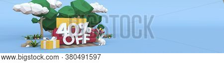 40 Forty Percent Off - Easter Sale 3d Illustration. Banner With Copy Space.