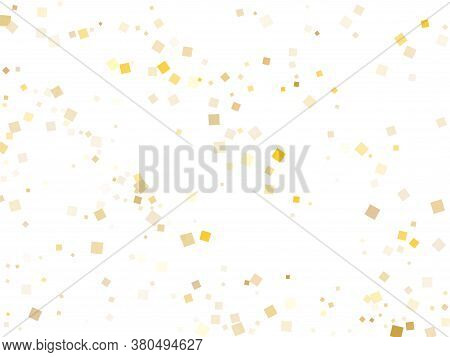 Festive Gold Square Confetti Sparkles Scatter On White. Glittering Holiday Vector Sequins Background