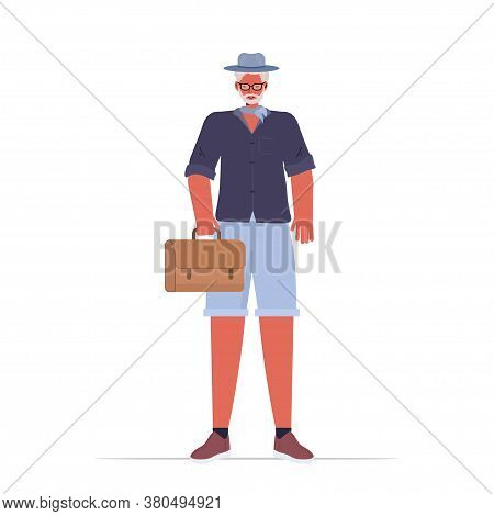 Old Man In Casual Trendy Clothes Senior Male Cartoon Character Standing Pose Gray Haired Grandfather