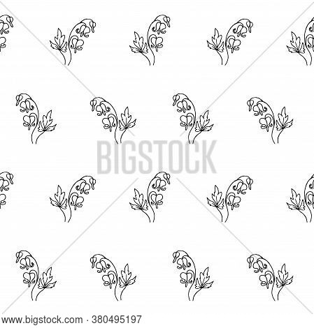 Bleeding Heart Plant Sketch Seamless Pattern. Hand Drawn Ink Art Design Object Isolated Stock Vector