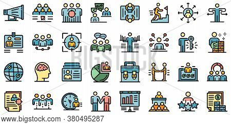 Recruiter Icons Set. Outline Set Of Recruiter Vector Icons Thin Line Color Flat On White