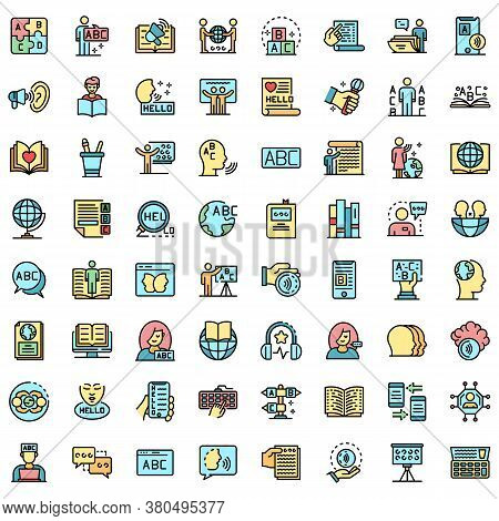 Linguist Icons Set. Outline Set Of Linguist Vector Icons Thin Line Color Flat On White