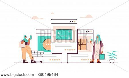 Arab People Using Smartphone Application For Online Shopping Ordering And Paying Ecommerce Smart Pur