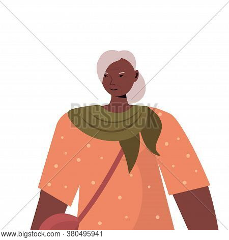 Old African American Woman In Casual Trendy Clothes Senior Female Cartoon Character Gray Haired Gran