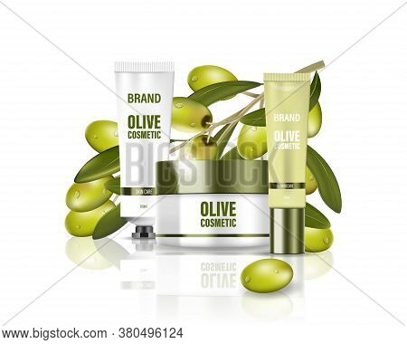 Moisturizing Cream Jar With Milk Lotion, Face, Body And Hand Cream With Olive Oil. Cosmetic Poster A