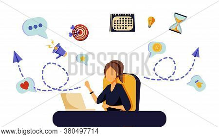 Happy Business Woman With Multitasking Skills Sitting At His Laptop With Office Icons On A Backgroun