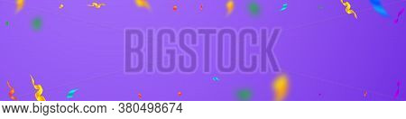 Streamers And Confetti. Colorful Streamers Tinsel And Foil Ribbons. Confetti Falling Rain On Violet