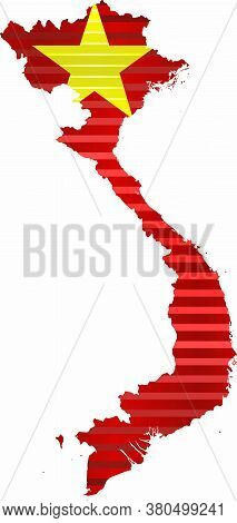 Shiny Grunge Map Of The Vietnam - Illustration,  Three Dimensional Map Of Vietnam