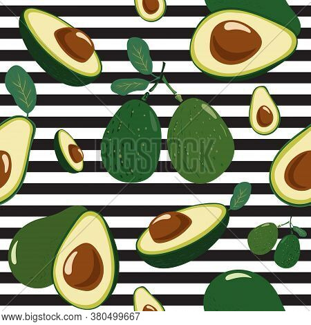 Avocado Seamless Pattern For Textiles, Prints. Avocado On Striped Background. Healthy Food