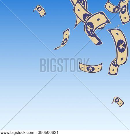 Chinese Yuan Notes Falling. Random Cny Bills On Blue Sky Background. China Money. Elegant Vector Ill