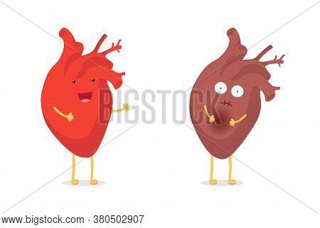 Sad Sick Unhealthy Vs Healthy Strong Happy Smiling Cute Heart Character. Medical Anatomic Funny Cart