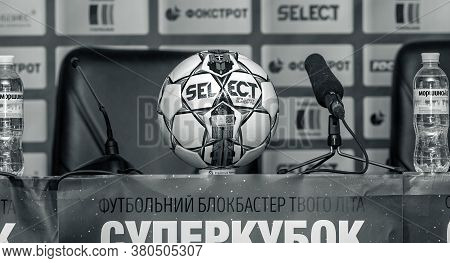Odessa, Ukraine - July 15, 2017: Hall Of Football Press Conferences. Details Of Press Center During