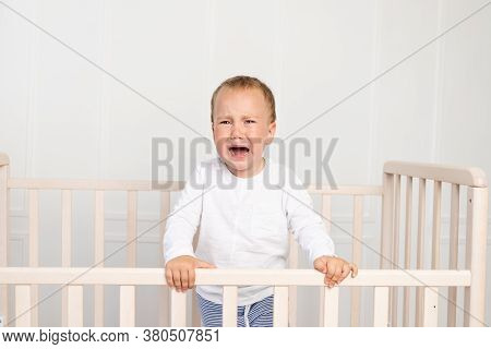 A Small Boy 2 Years Old Is Crying In The Crib, Parents Do Not Approach The Crying Baby