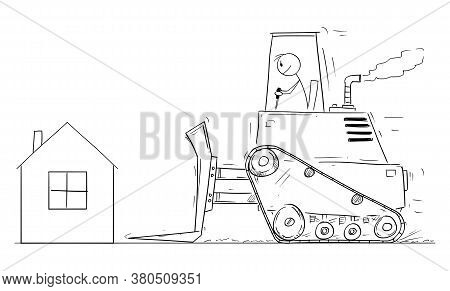 Vector Cartoon Stick Figure Drawing Conceptual Illustration Of House Owner Looking Shocked On Bulldo