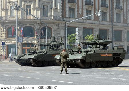 Moscow, Russia - June 20, 2020:russian Tank Support Vehicle Bmpt