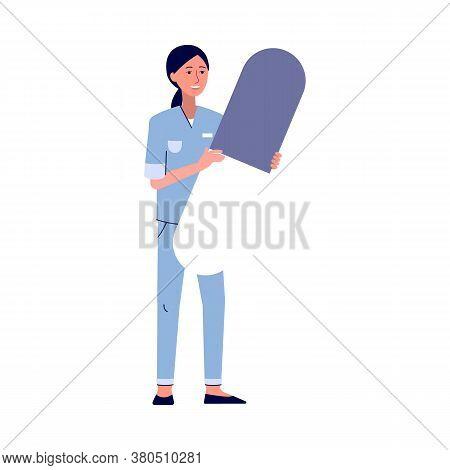 Cartoon Doctor Holding Giant Medicine Pill - Female Nurse In Medical Uniform