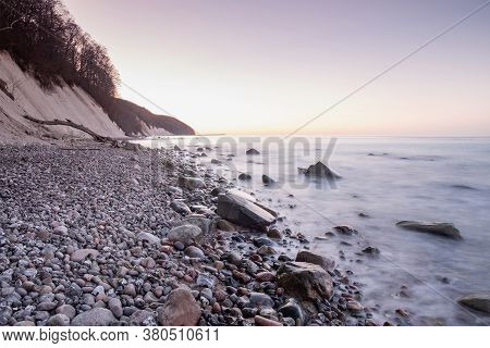 Famous Magnificent High Chalk Coast At Jasmund Park, Ruegen Island In Germany. Travel Along Baltic S