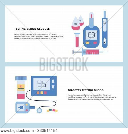 Diabetes Banner Set - Blood Glucose Testing Equipment And Medicine