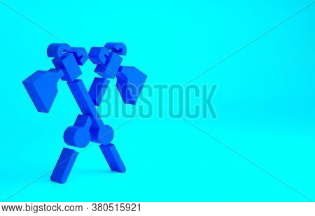 Blue Crossed Medieval Axes Icon Isolated On Blue Background. Battle Axe, Executioner Axe. Medieval W