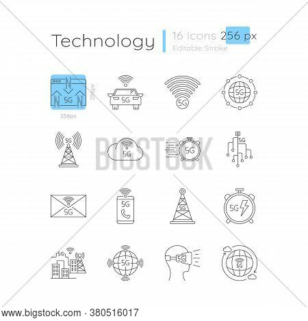 5g Connection Linear Icons Set. Transmission Signal. Innovative Technology. Customizable Thin Line C