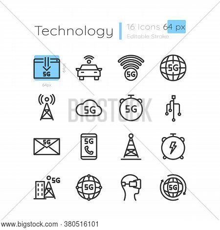 5g Wireless Technology Linear Icons Set. Network Coverage From Telecom Tower. Customizable Thin Line