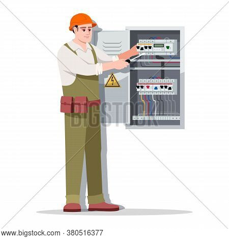 Electrician Semi Flat Rgb Color Vector Illustration. Technician In Hardhat Repairs Electricity. Elec