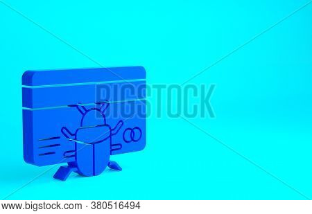 Blue System Bug In Credit Card Icon Isolated On Blue Background. Code Bug Concept. Bug In The System