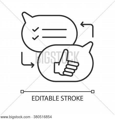 Criticism Linear Icon. Communication Skills, Conversation Thin Line Customizable Illustration. Conto