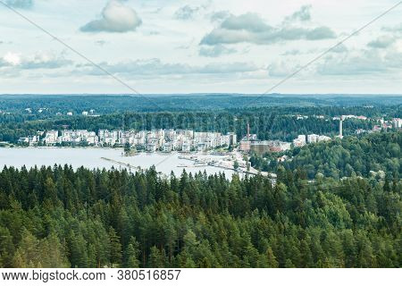 Aerial Summer View To Lahti Harbor From Ski Jump Tower
