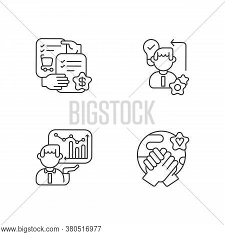 Business Skills Linear Icons Set. Customizable Thin Line Contour Symbols. Selling Skills, Diligence,