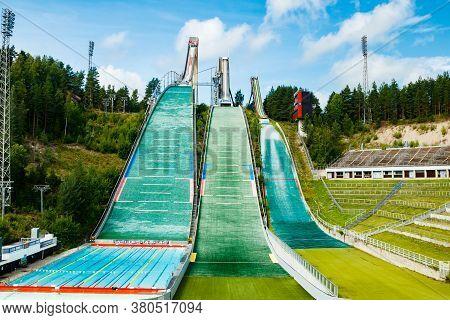 Lahti, Finland - 4 August 2020: Lahti Sports Centre With Three Ski Jump Towers