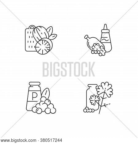 Condiments Linear Icons Set. Natural Supplement. Cooking Condiment. Mustard And Black Pepper. Cilant