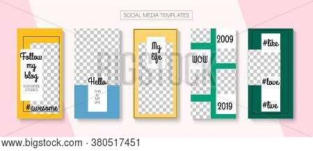 Social Stories Cool Vector Layout. Tech Sale, New Arrivals Story Layout. Blogger Hipster Design, Soc