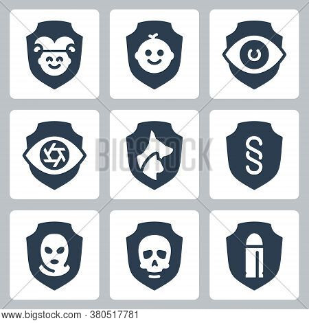 Resistance, Protection From External Influence And Guarding Related Vector Icon Set In Glyph Style