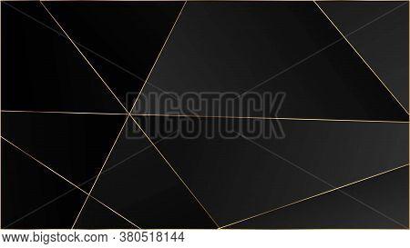 Black Luxury Triangular Texture. Vip Silver Rich Geometric Celebration Background. Gold Lines Polygo