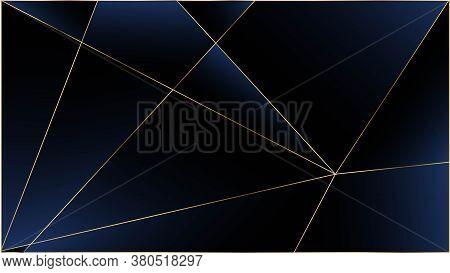 Blue Premium Triangular Texture. Gold Lines Polygon Luxury Border. Silver Rich Vip Geometric Celebra