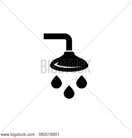 Bathroom Shower, Showering Spray Drops. Flat Vector Icon Illustration. Simple Black Symbol On White
