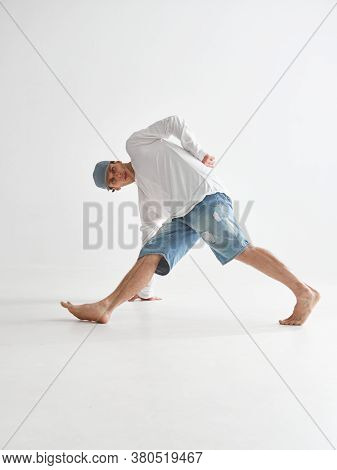 Cool Guy Breakdancer Dancing Lower Break Dance Isolated On White Background. Dance School Poster. Br
