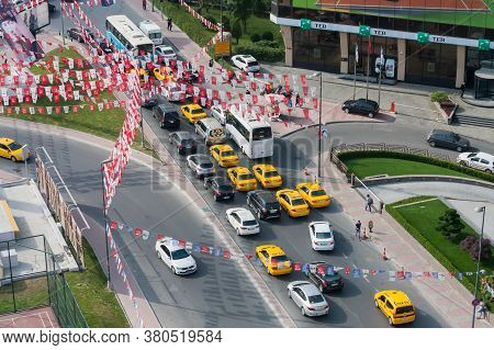Istanbul, Turkey May 22 2015: Aerial View Of A Street In Istanbul With Many Chp Political Party Flag