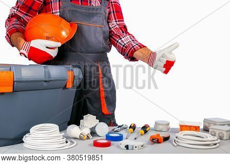 Repairman Holding Helmet And Showing Thumb Up. Concept Small Business. Labor Day.
