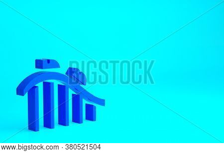 Blue Roller Coaster Icon Isolated On Blue Background. Amusement Park. Childrens Entertainment Playgr