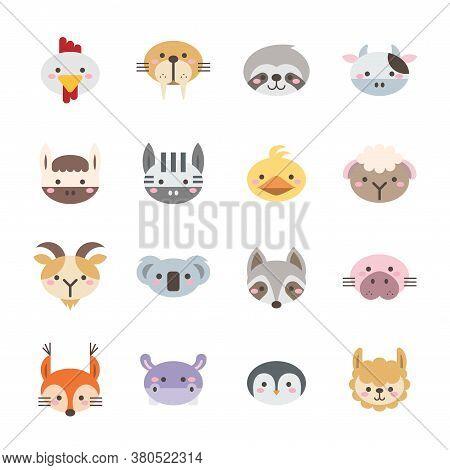 Vector Set Of Flat Animal Icons On White Background Set 2.