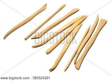 Set Of Wooden Craft Sculpting Tools On White Background