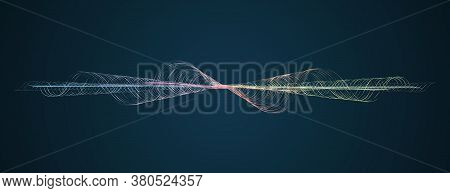 Soundwave Smooth Curved Lines Abstract Design Element Technology Dark Background With A Line In Wave