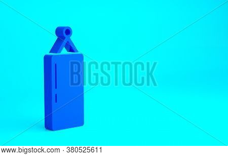 Blue Punching Bag Icon Isolated On Blue Background. Minimalism Concept. 3d Illustration 3d Render