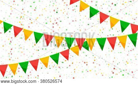 Paper Bunting Party Flags And Stars Isolated On White Background. Carnival Garland With Flags. Decor